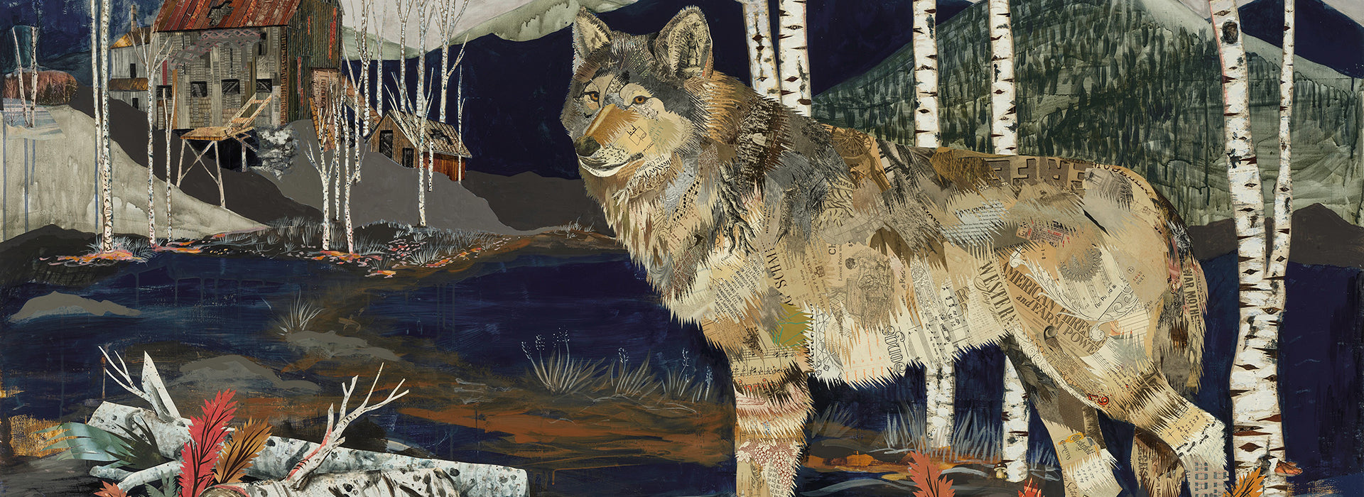 the story of the Miner's Apparition wolf collage