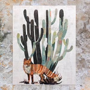 thumbnail for Baja Backcountry (Fox) with Cactus Original Paper Collage