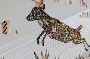 thumbnail for Leaping Deer Original Mixed Media Wall Art