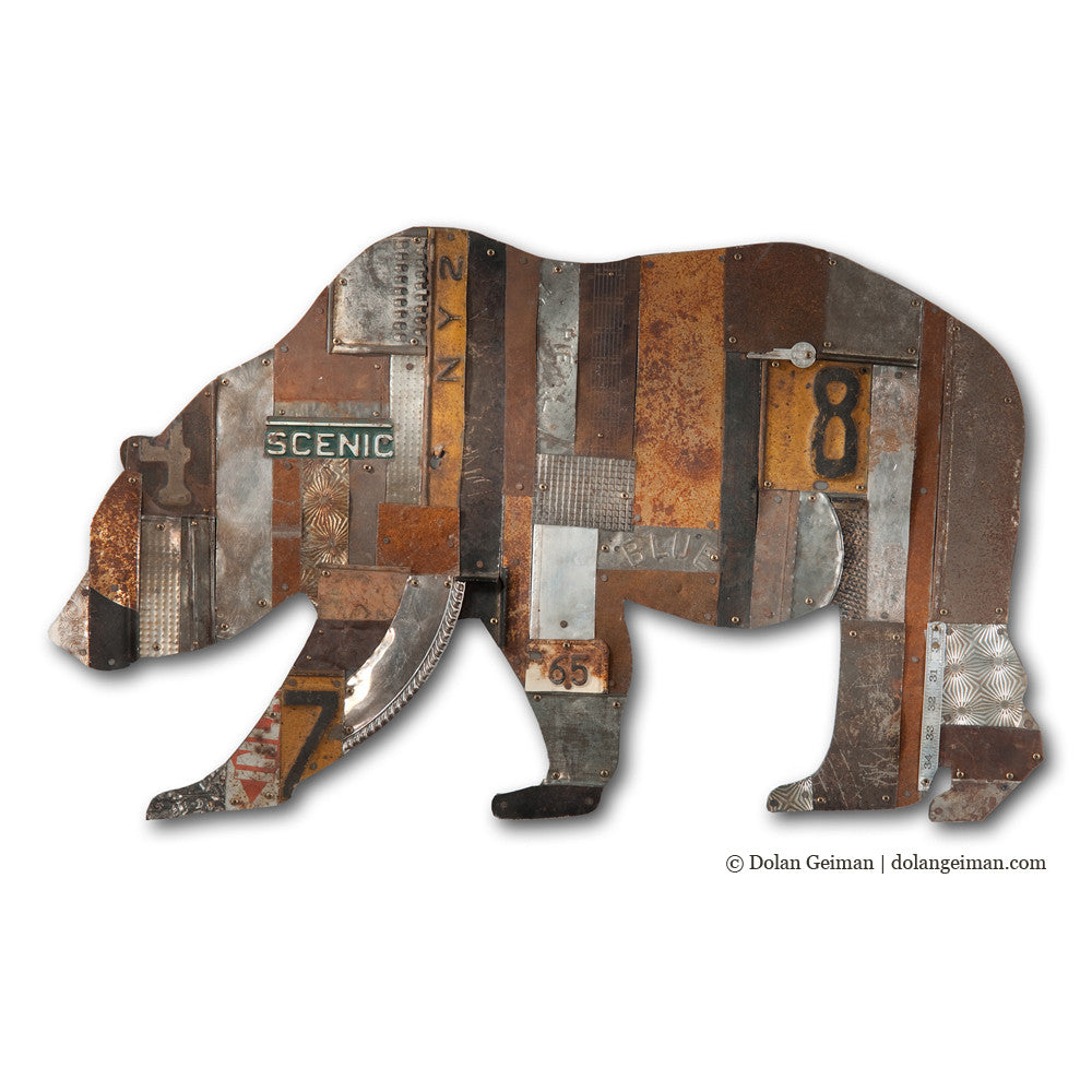 In the Woods California Bear Metal Wall Sculpture