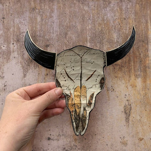 thumbnail for Vaquera Sudoeste (Indigo) with Longhorn, Large-Scale, Original Paper Collage