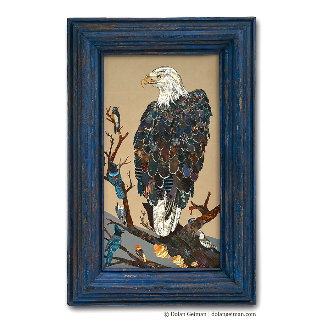 Bald Eagle Original Paper Collage