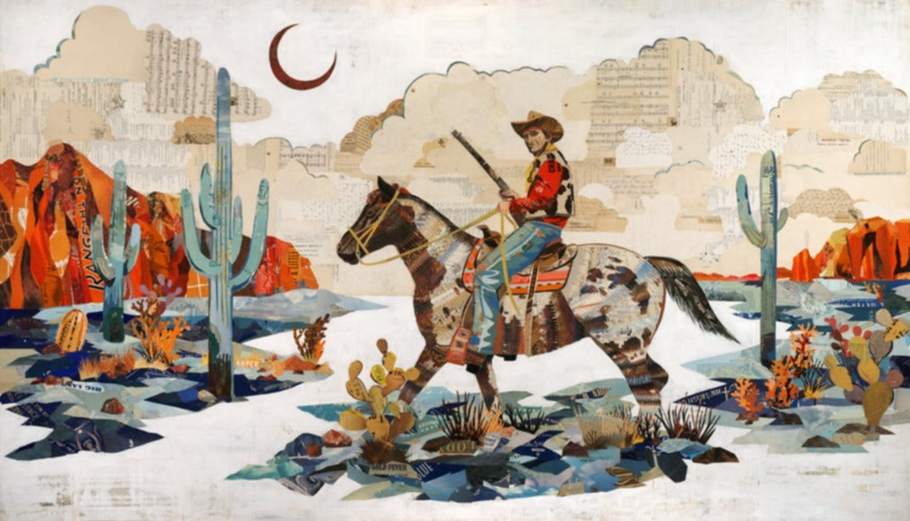 Night Scout Cowboy on Horse in Desert Landscape Art Print