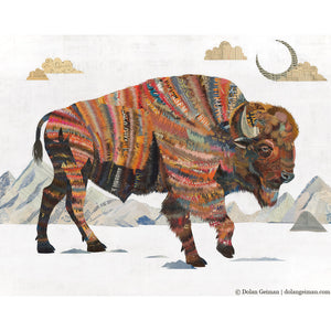thumbnail for Rest Not Western Herald Bison Paper Collage Art
