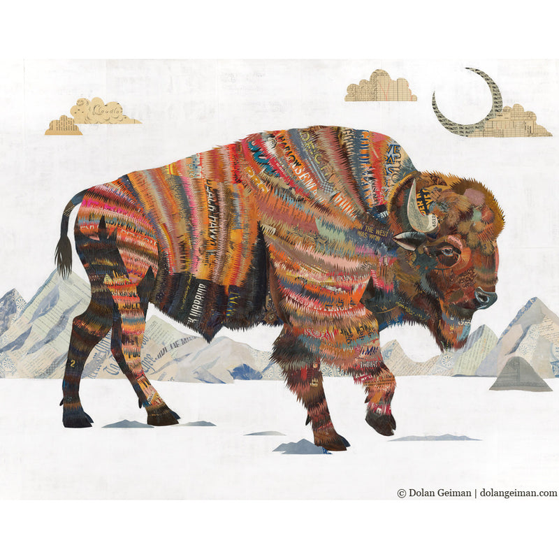 main image for Rest Not Western Herald Bison Paper Collage Art