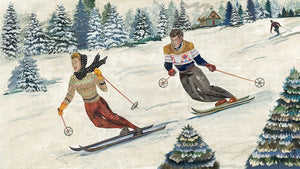 thumbnail for Vintage Alpine Skiing Art Print