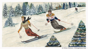 thumbnail for Vintage Alpine Skiing Original Paper Collage