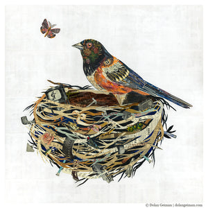 thumbnail for Towhee in Nest Original Paper Collage