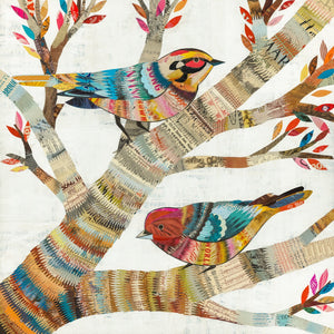 thumbnail for Warblers Square Pair of Birds in Tree Art Print