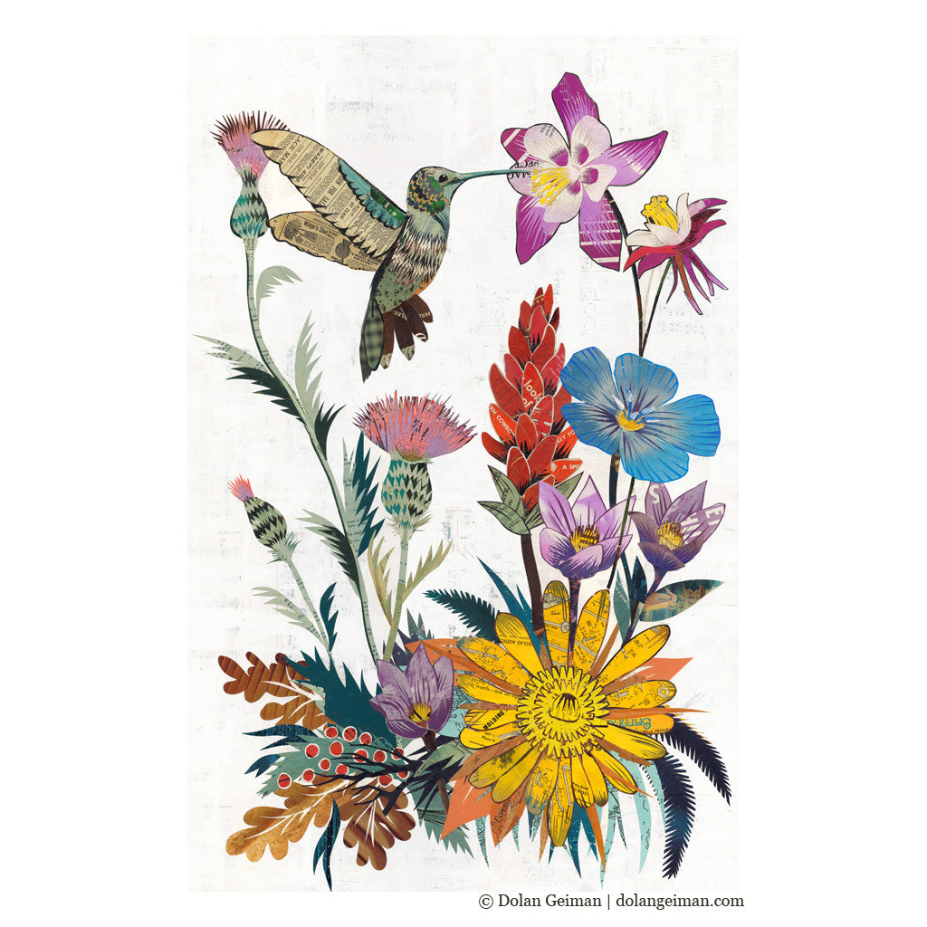 Hummingbird with Wildflowers Paper Collage Art