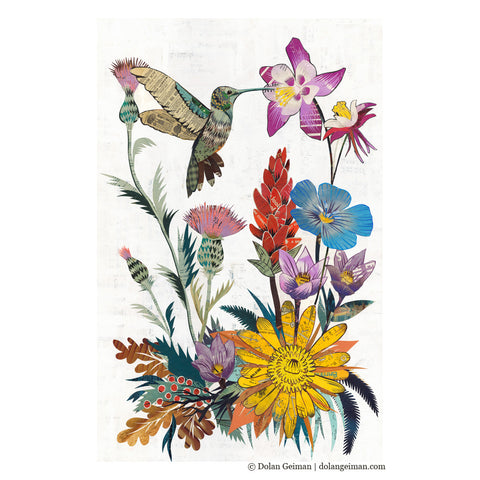 Hummingbird With Wildflowers Paper Collage Art Dolan Geiman