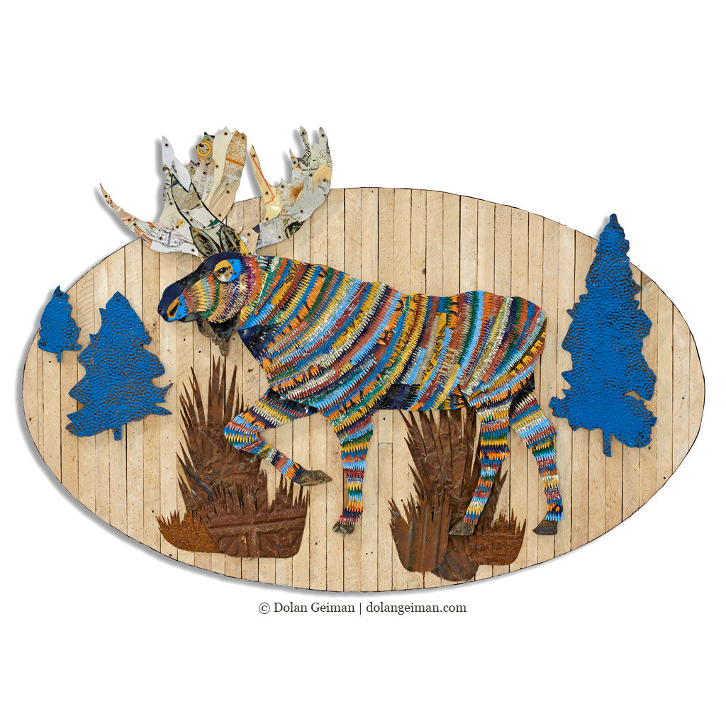 Moose in Woods Metal Wall Sculpture