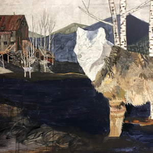 thumbnail for Wolf with Aspen Trees and Miner's Cabin Original Paper Collage