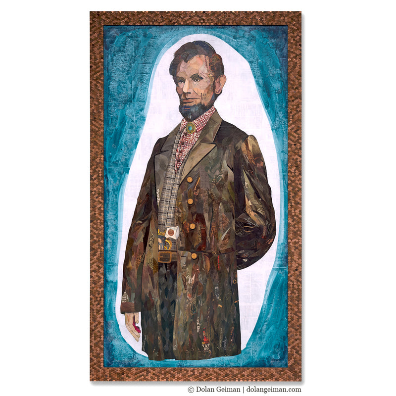 main image for Custom Abe Lincoln Paper Collage with Penny Frame