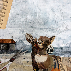 thumbnail for Drive-in Deer Original Paper Collage
