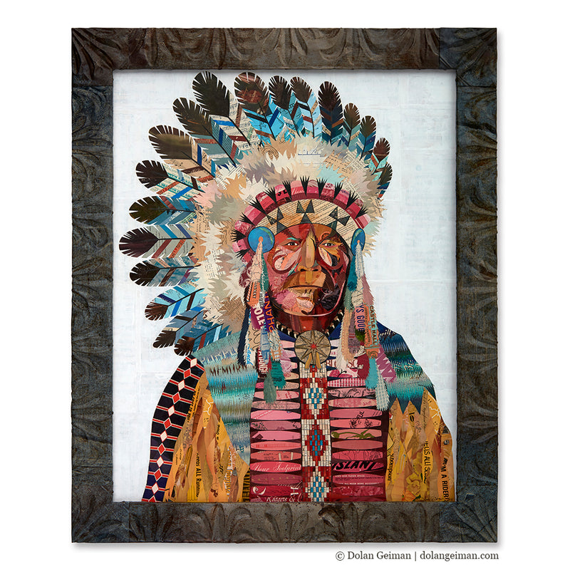 main image for American Heritage Native American Portrait Original Paper Collage