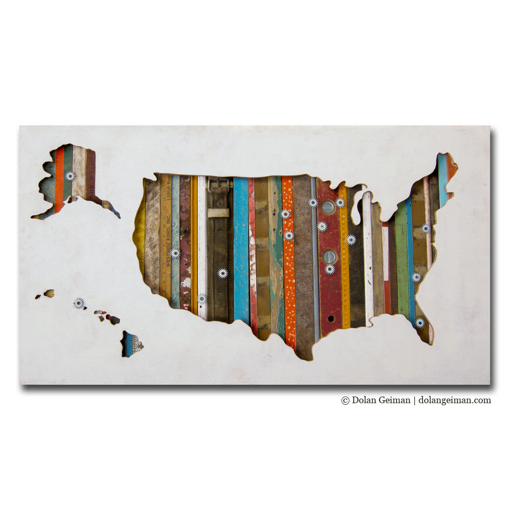 Custom USA Map Silhouette Art with Personalized Detail