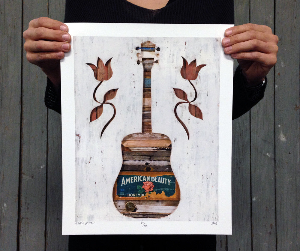 American Beauty Folk Guitar Art Print