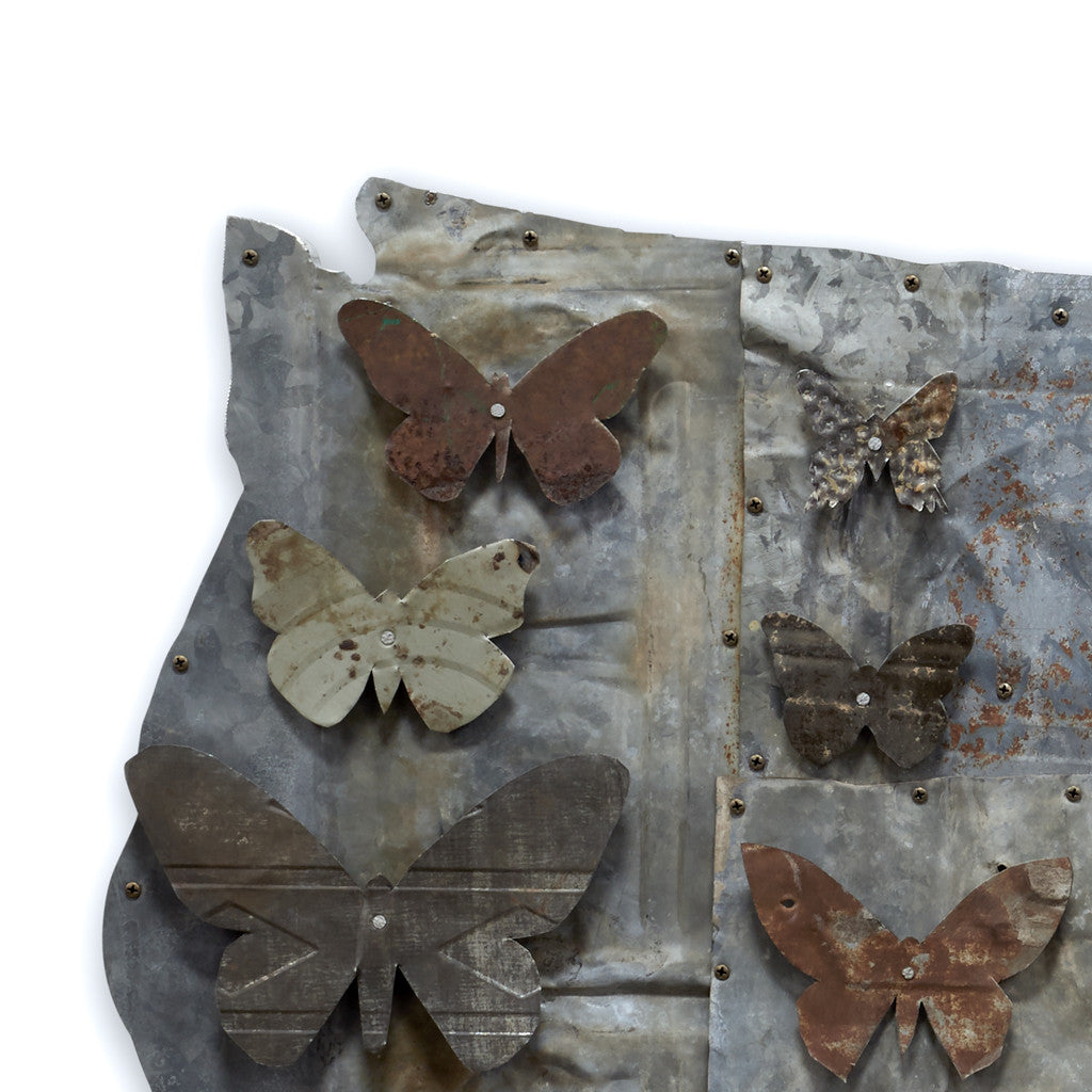 Industrial Modern American Butterflies Original Metal Wall Sculpture
