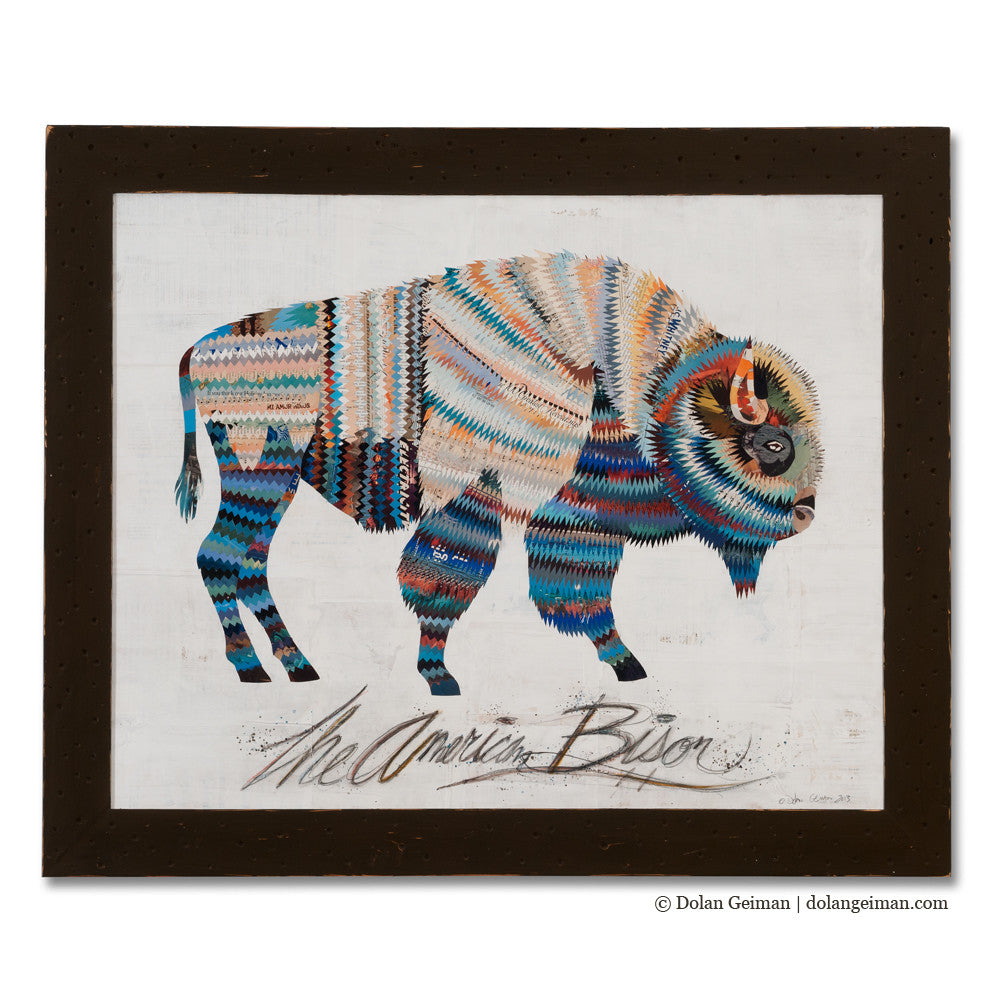 American Heritage Bison Paper Collage Art