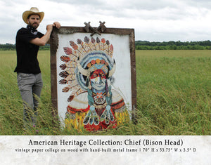 thumbnail for American Heritage Chief Bison Paper Collage Art