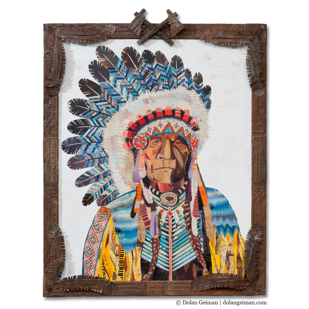 American Heritage Chief II Paper Collage Art