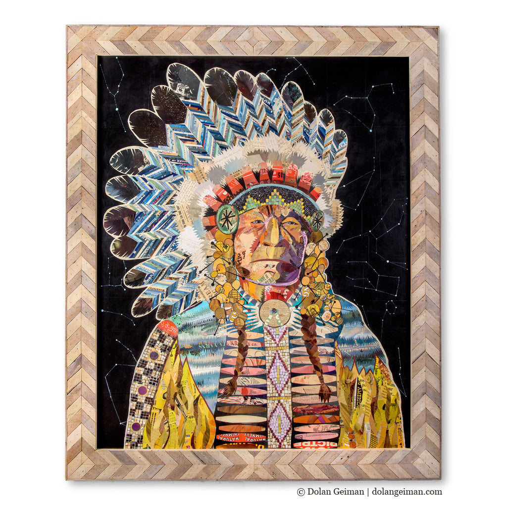 American Heritage Chief (Constellation) Paper Collage Art