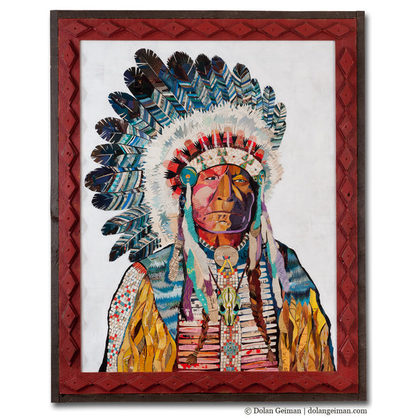 American Heritage Chief Paper Collage Art