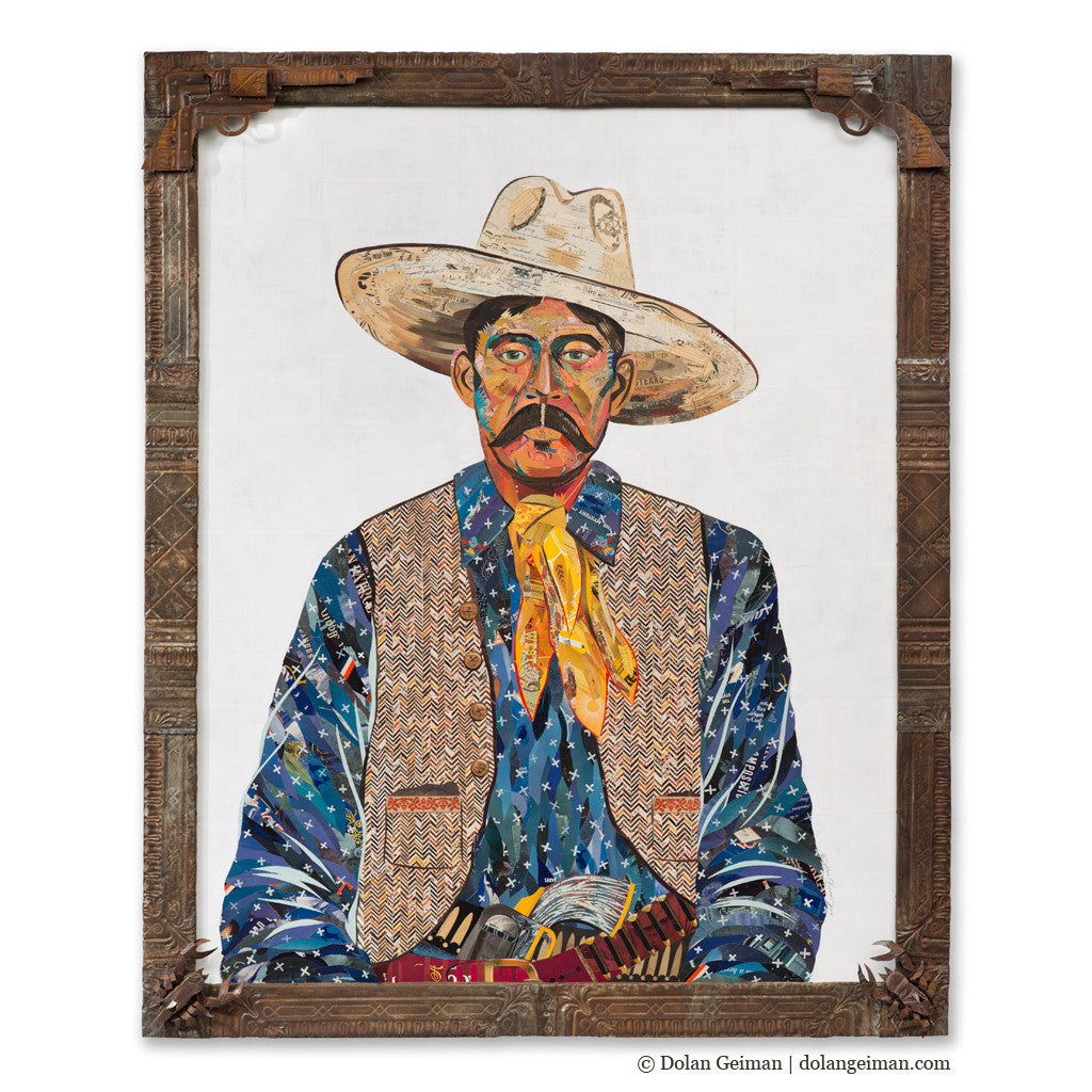 American Heritage Western Cowboy (Blue) Paper Collage Art