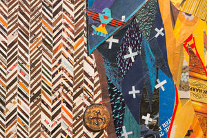 thumbnail for American Heritage Western Cowboy (Blue) Paper Collage Art