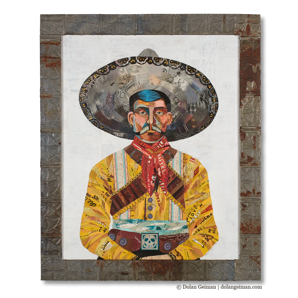 Vaquero Cowboy Original Paper Collage