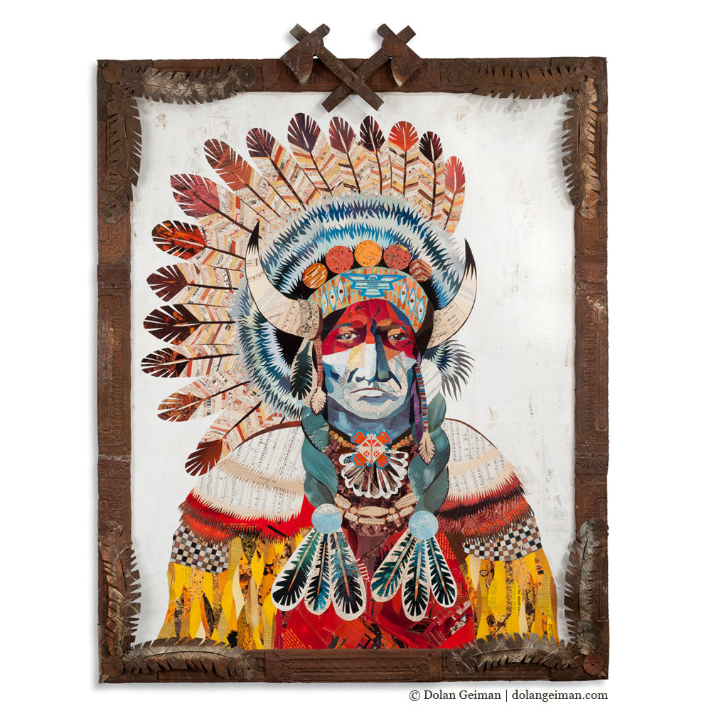 American Heritage Chief Bison Paper Collage Art