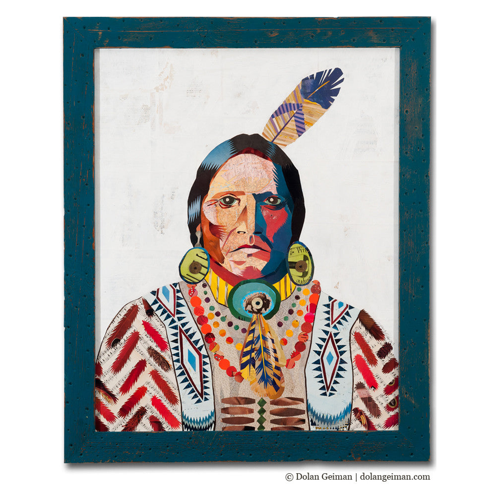 American Heritage Warrior Paper Collage Art