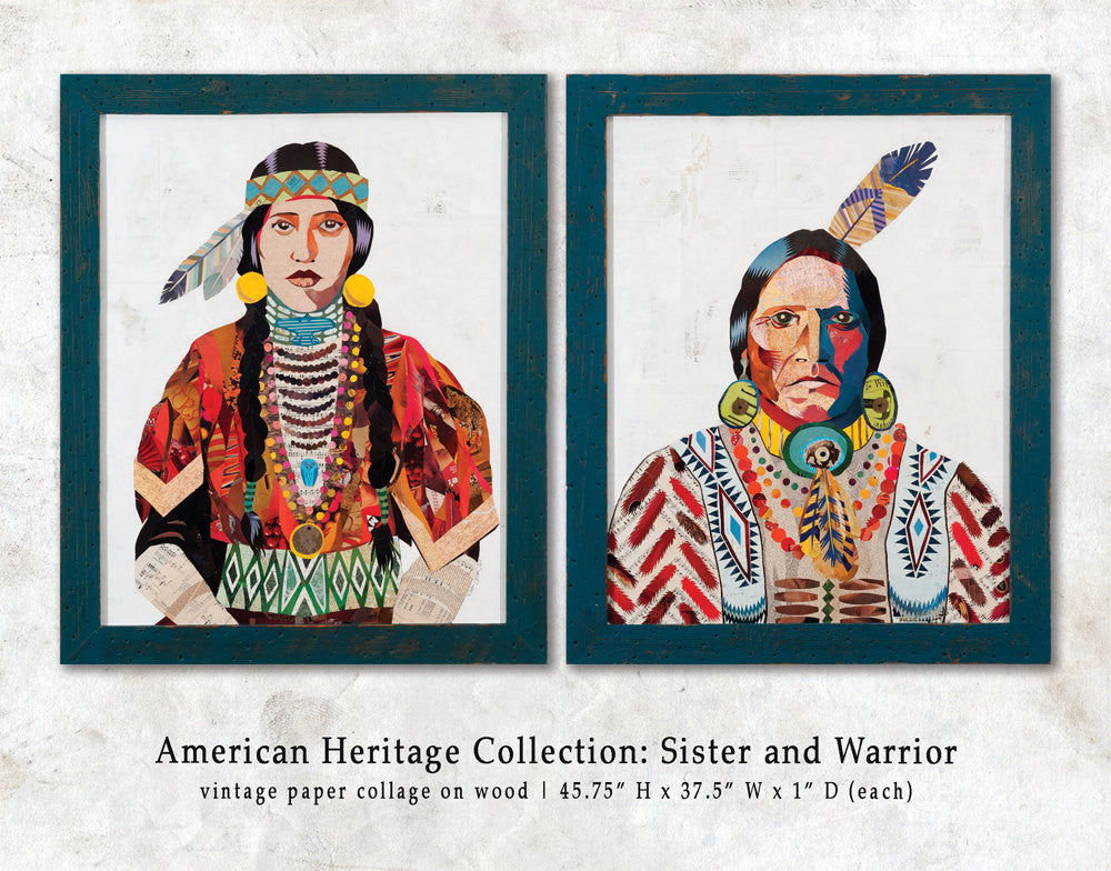 American Heritage Sister Paper Collage Art