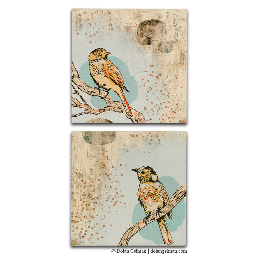 April Evening Gray Bird Art Diptych