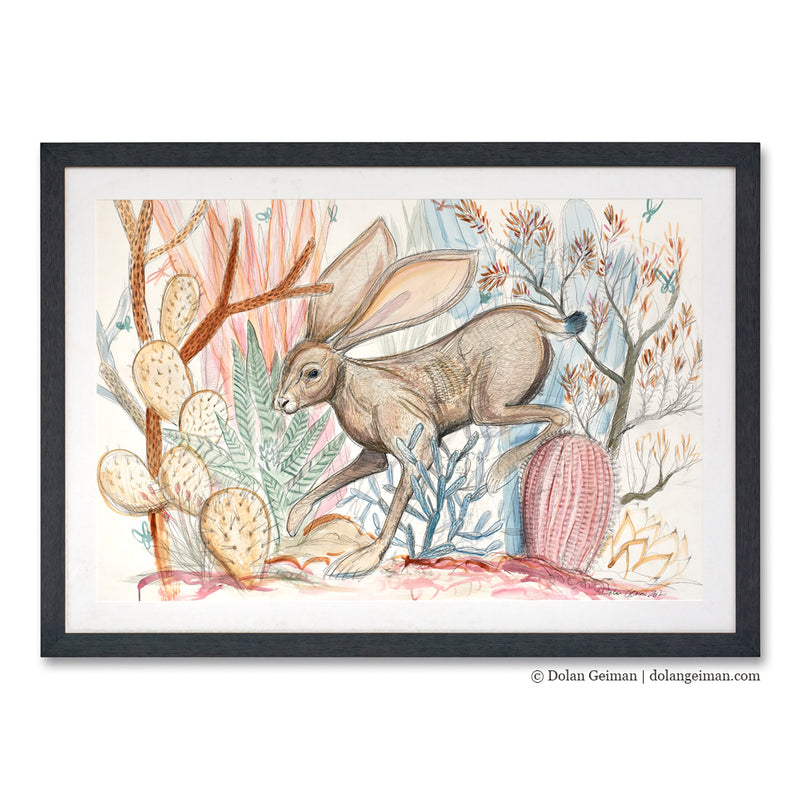 main image for Original Jackrabbit and Cacti Drawing
