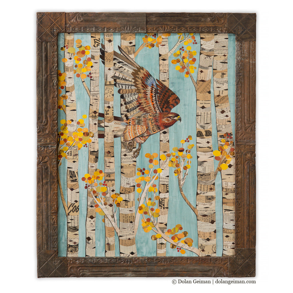 Aspen Redtail Paper Collage Art