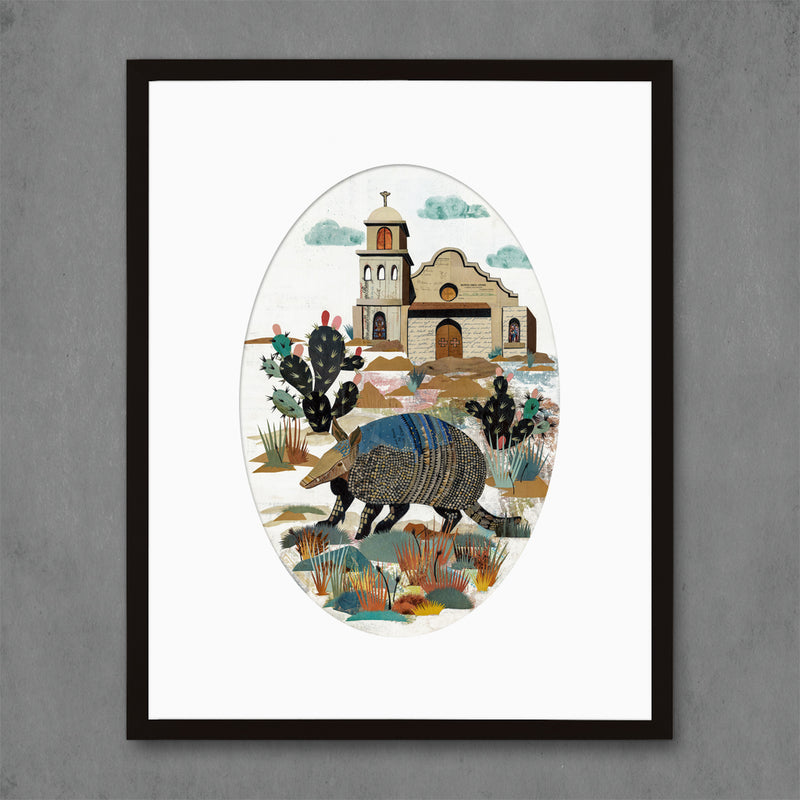 main image for Armadillo with Cactus Art Print