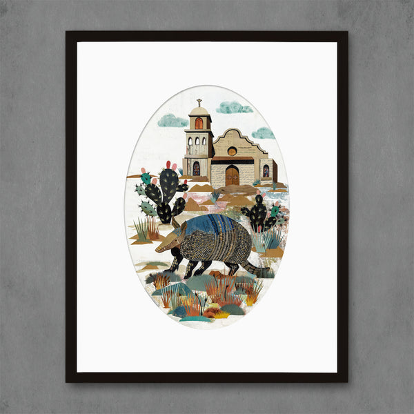 Armadillo with Cactus Art Print
