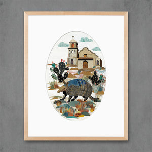 thumbnail for Armadillo with Cactus Art Print