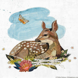 thumbnail for Dream Days Baby Fawn Original Paper Collage
