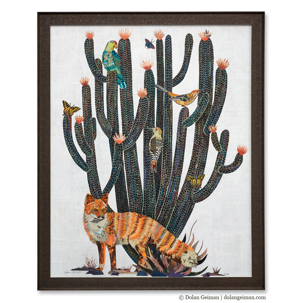 Fox with Cactus Original Paper Collage