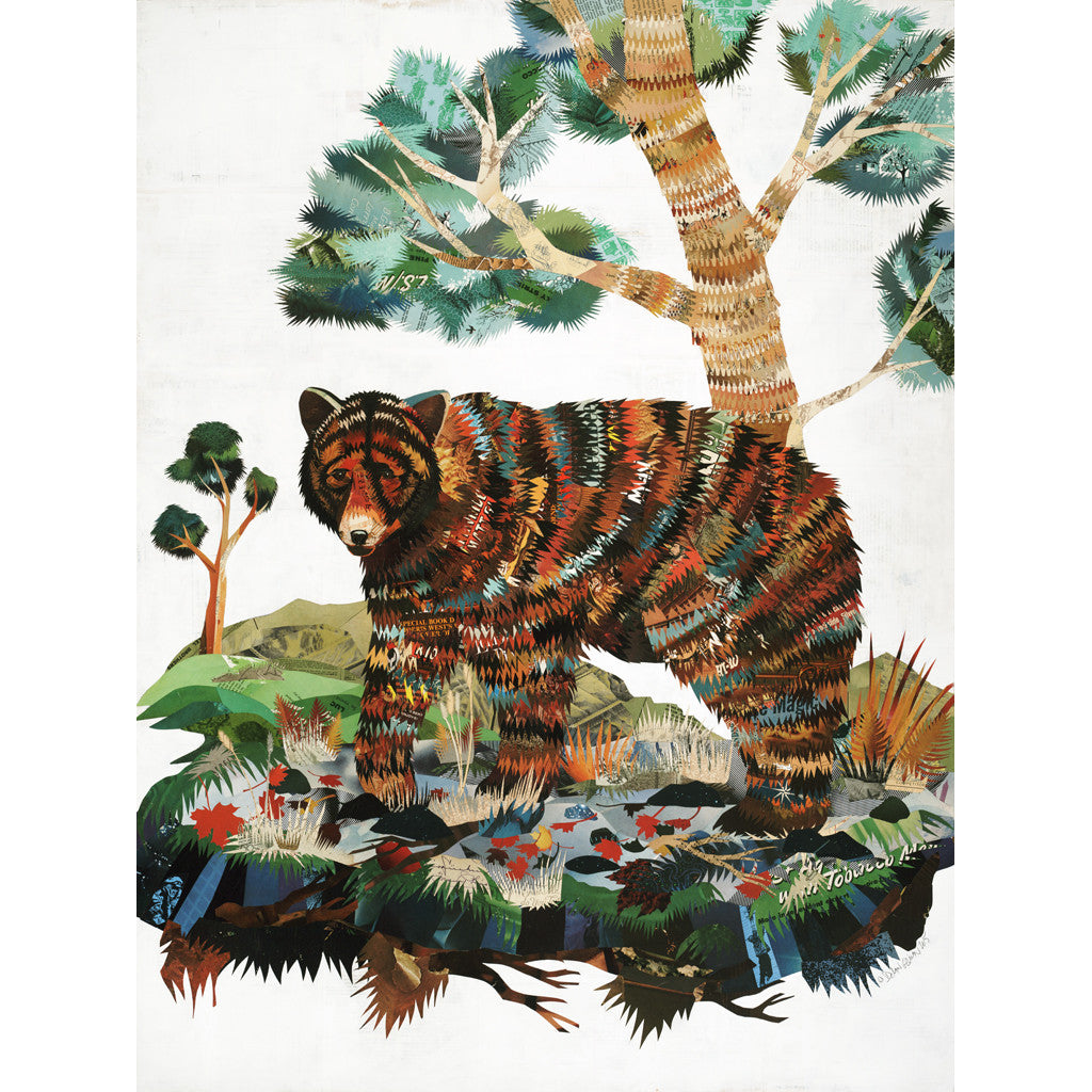 Black Bear Paper Collage Art