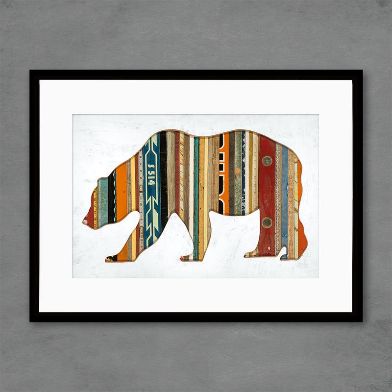 main image for Mixed Media Bear Silhouette with Reclaimed Wood Art Print