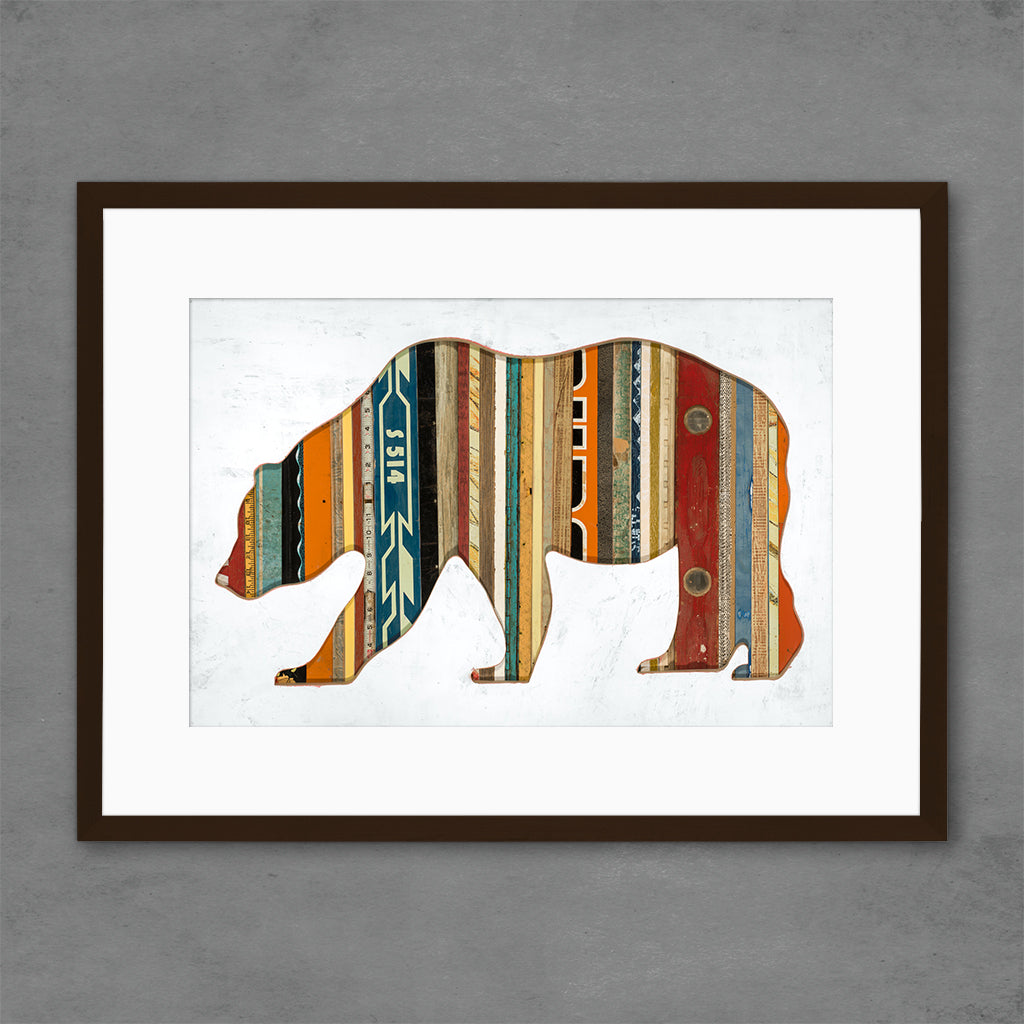 Mixed Media Bear Silhouette with Reclaimed Wood Print