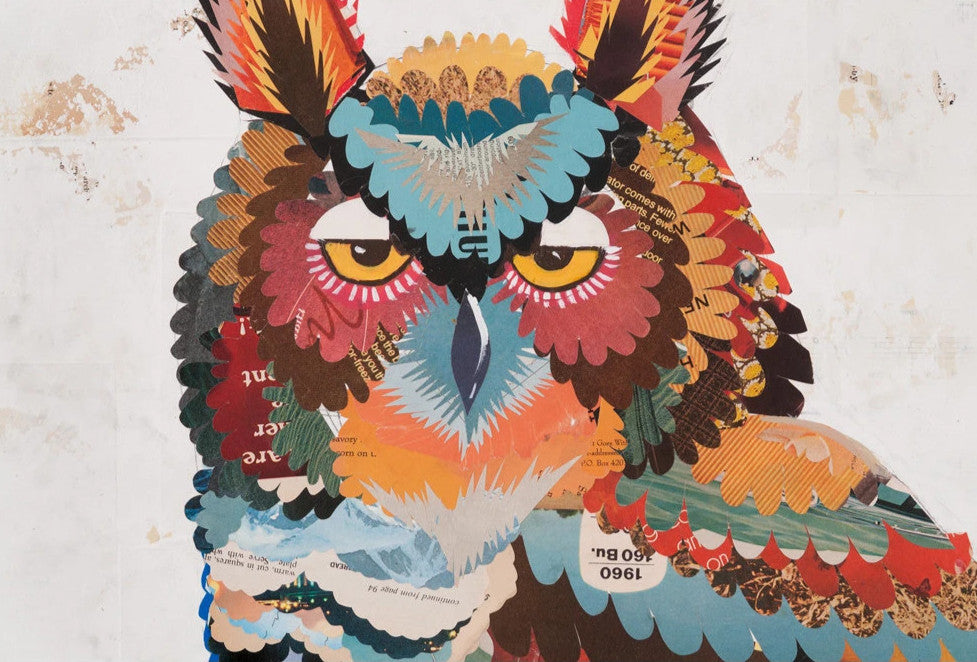 Beauty in Every Shadow Owl Paper Collage Art