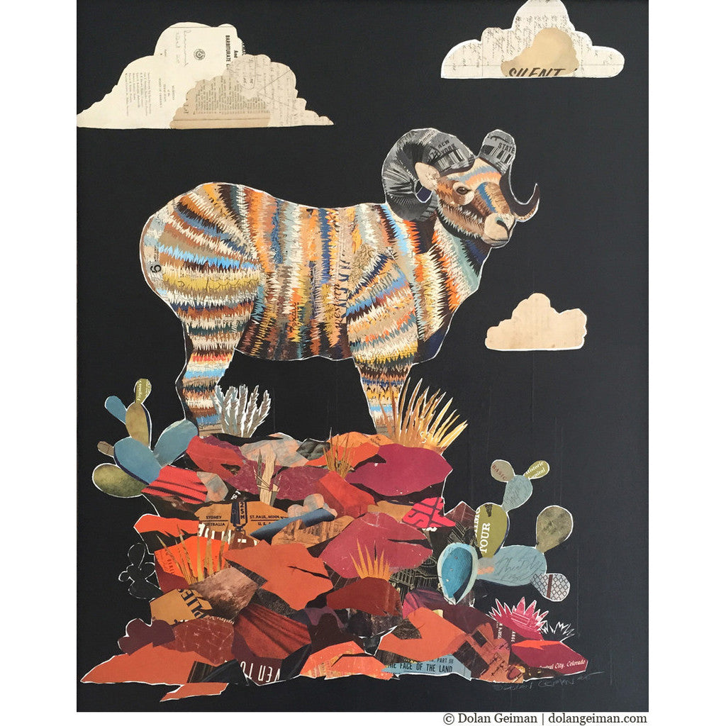 Big Horn Sheep II Paper Collage Art