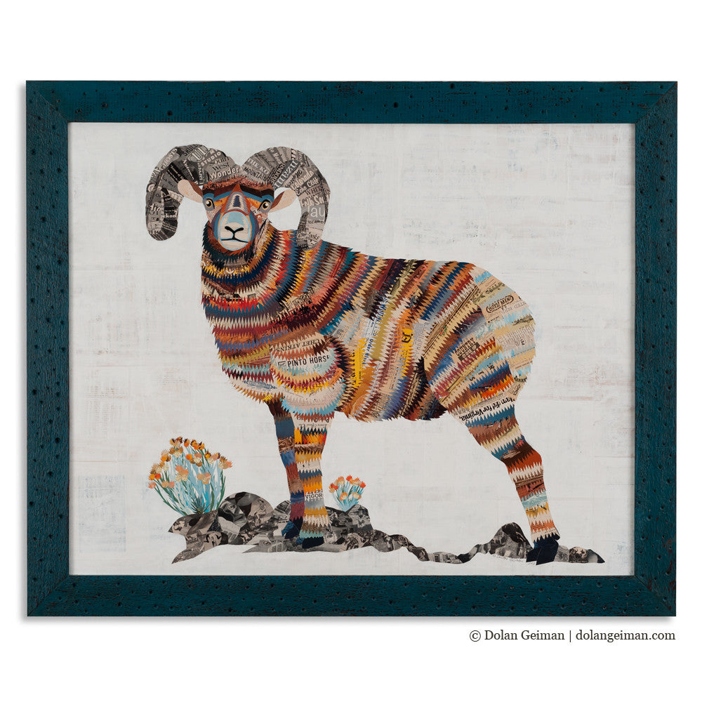 Big Horn Sheep on Rock Cliff Paper Collage Art
