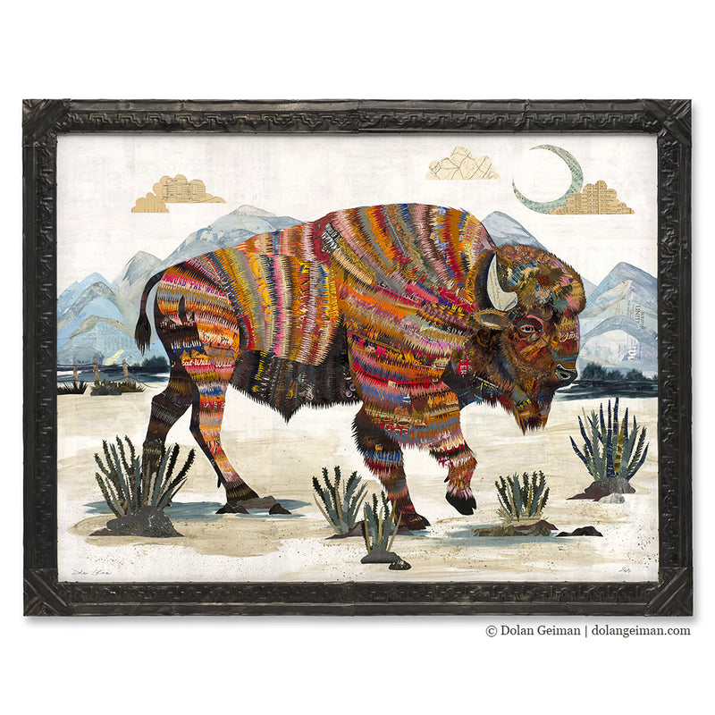 main image for Sage King Bison Original Paper Collage