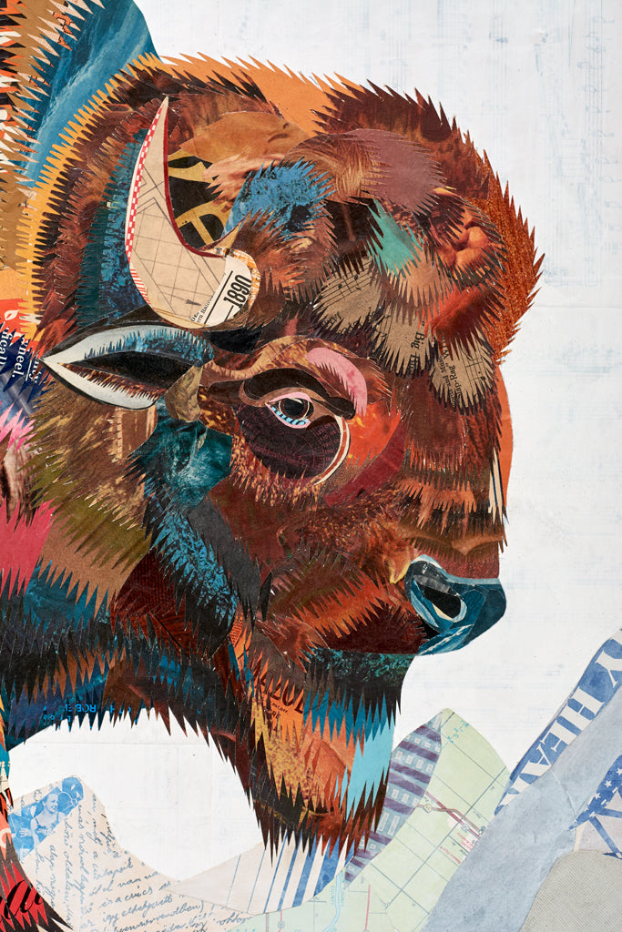 Mid-Size Rest Not Western Herald Bison Paper Collage Art